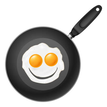 Frying pan with smile egg. Illustration on white background Vector