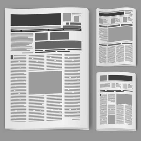 newspaper articles: Set number two newspaper. Illustration on white background.