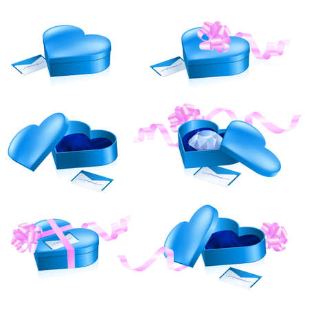 rich couple: Set of blue boxes in heart shape. Illustration on white background.