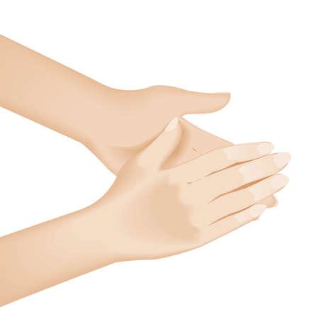 Lavado de manos. Ilustración sobre fondo blanco para el diseño