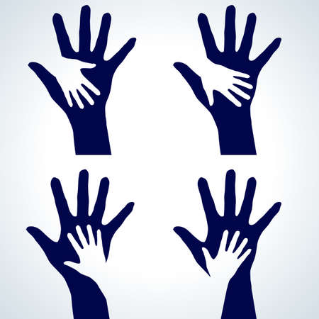 church family: Set of Two hands silhouette. Illustration on white background.