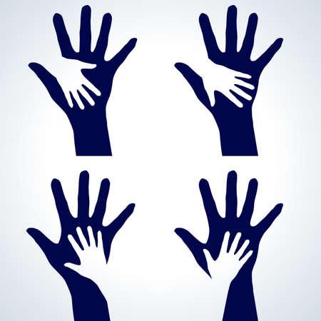 familia en la iglesia: Juego de Dos siluetas manos. Ilustraci�n sobre fondo blanco.