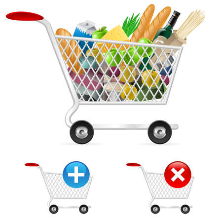 product cart: Shopping cart full of different products. Illustration on white background