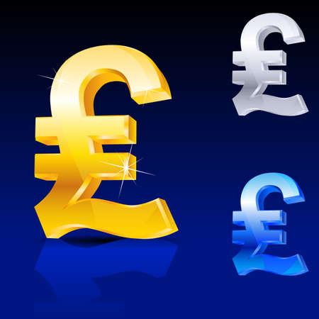 british pound: Abstract pound sign. Illustration on blue background for design Stock Photo