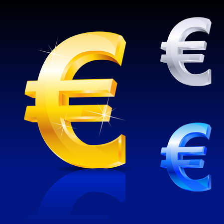 banking problems: Abstract euro sign. Illustration on blue background for design