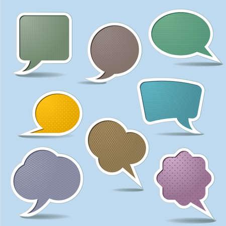 мысль: Коллекция речи пузыри, изолированных на белом фоне Иллюстрация