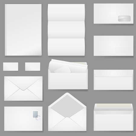 envelope with letter: Carta da ufficio di diversi tipi. Illustrazione su sfondo bianco.