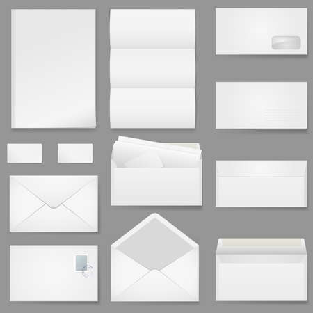 email envelope: Office paper of different types. Illustration on white background. Illustration