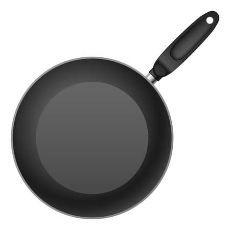 ladles: Black Teflon coated shallow frying pan. Illustration on white background