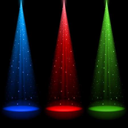 Tres ejes cónicos RGB de la luz brilla una luz en el negro