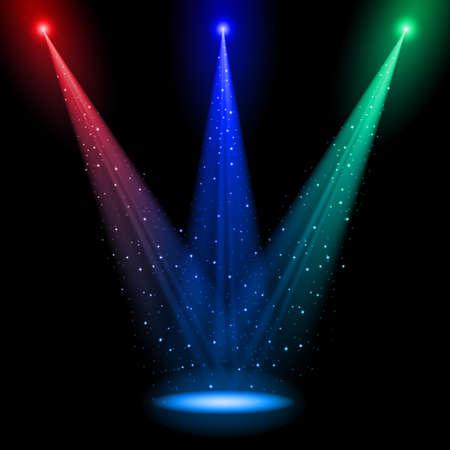 Tres ejes cónicos RGB de brillar la luz en un momento en el negro Ilustración de vector