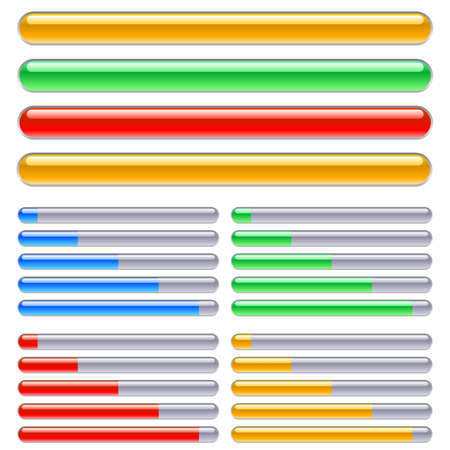 graficos de barras: Indicador de progreso en diferentes colores. Ilustraci�n sobre fondo blanco