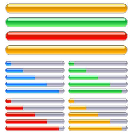 Indicator van de vooruitgang in verschillende kleuren. Illustratie op een witte achtergrond Vector Illustratie
