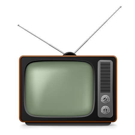television antigua: TV época realista. Ilustración sobre fondo blanco para el diseño Vectores