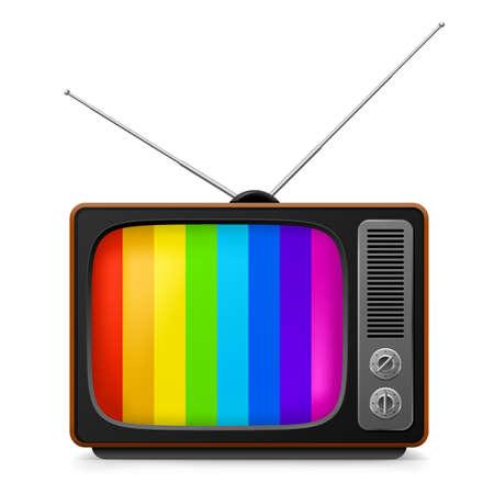 구식 복고풍 TV. 흰색 배경에 그림