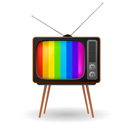 tv icon: Retro TV with color frame. Illustration on white background Illustration