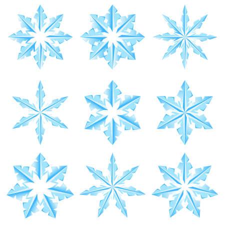 Set of snowflakes on a white background. Illustratin for design Vector