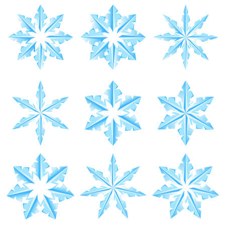 illustratin: Set of snowflakes on a white background. Illustratin for design