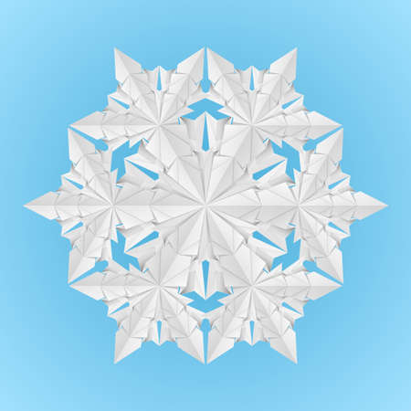 White paper snowflake on a blue background illustration designer Vector