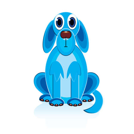 Cartoon Blue Dog. Illustratie op een witte achtergrond voor ontwerp