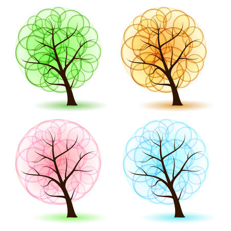 Set Tree with abstract leafs, element for design. Vector