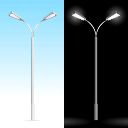 lampposts: Streetlight. Illustration on blue and black background