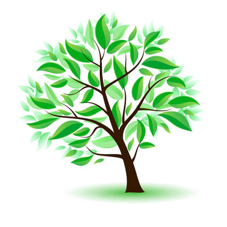 Stylized tree with green leaves. Illustration on white background Vector