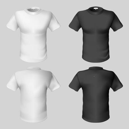 T-shirt design template (front and back). Black and white.  Vector
