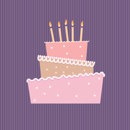 birthday candle: Birthday cake with one candles. Illustration on white background Stock Photo
