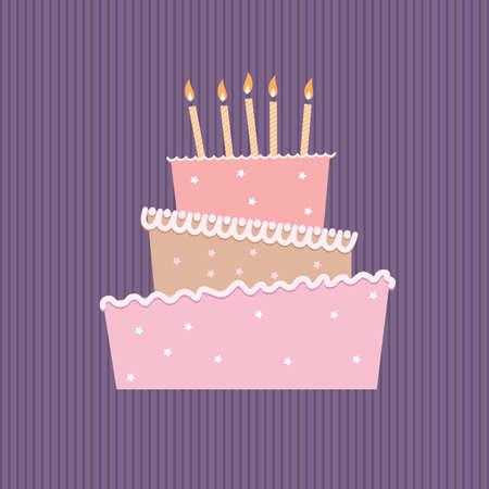 velitas de cumpleaños: Torta de cumpleaños con una velas. Ilustración sobre fondo blanco