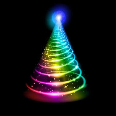 christmas template: Albero di Natale. Abstract illustrazione arcobaleno su sfondo nero.