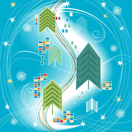 Abstract Christmas background on blue for design  Stock Vector - 11350871