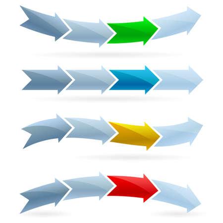 flechas: Flechas conjunto. Competencia concepto. Ilustraci�n sobre fondo blanco Vectores