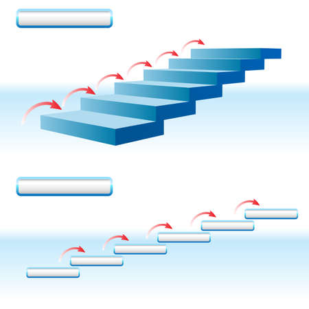 Arrow upstairs in details.  Illustration on white background. Vector