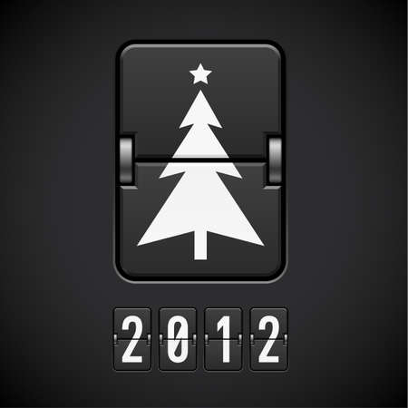 new year counter: Scoreboard Christmas Tree. Illustration of the designer