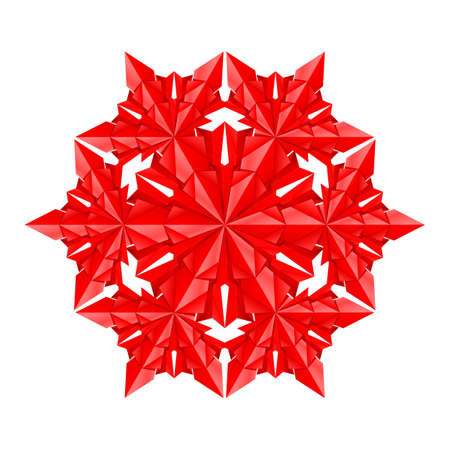 Red paper snowflake on a white background Vector