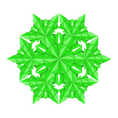 Green paper snowflake on a white background Stock Vector - 11351231
