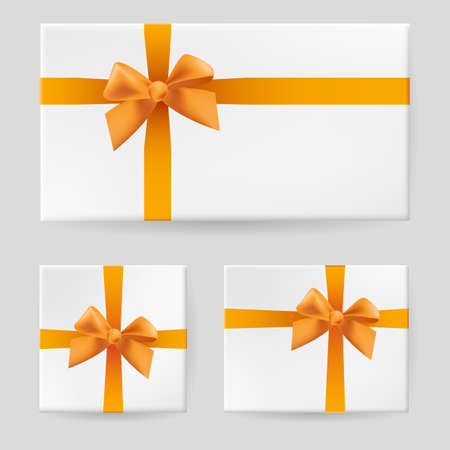 Yellow gift bow. Illustration on gray background for design Vector