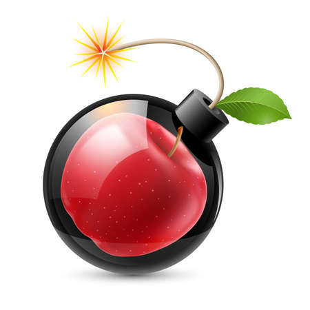 Bomb with an apple. Illustration on white background Vector