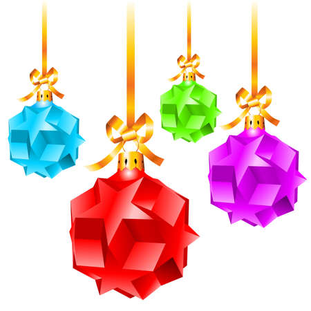 Abstract colorful Christmas decorations.  Illustration on white background  Vector