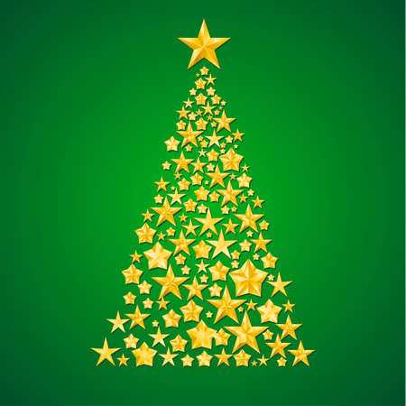Abstract Christmas tree from the stars. Illustration on green background  Vector