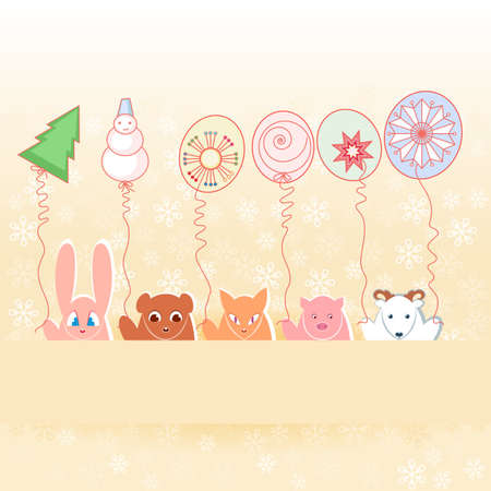 Animals with New Years balloons.  Illustration on pastel background  Vector