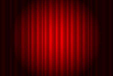 movie film: Curtain from the theatre with a spotlight. Illustration of the designer