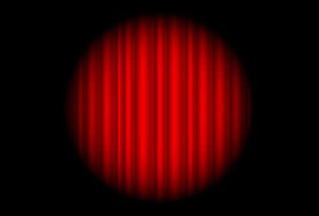 Stage with red curtain and big spot light.  Illustration of the designer  Illustration