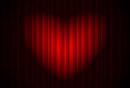 rideau sc�ne: Stage avec rideau rouge et projecteurs grand, en forme de c?ur. Illustration du concepteur
