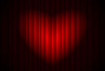 red curtain: Stage with red curtain and spotlight great, heart-shaped. Illustration of the designer