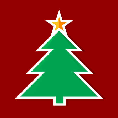 Origami Christmas tree. Illustration on red background Vector