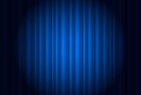 telon de teatro: Cortina del teatro con un foco azul. Ilustración del diseñador