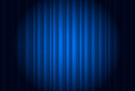 rideau sc�ne: Rideau de th��tre avec un projecteur bleu. Illustration du concepteur
