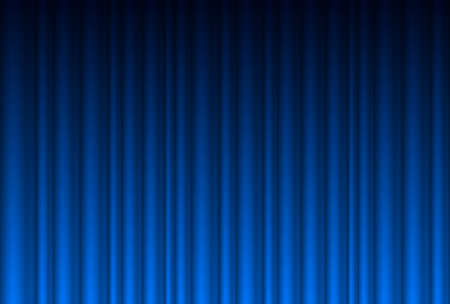 theater audience: Realistic blue curtain. Illustration for design